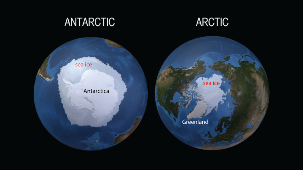 Figure 1: Maps of the Antarctic (left) and Arctic (right) including the floating sea ice component of our cryosphere. Adapted from a NASA SVS image.